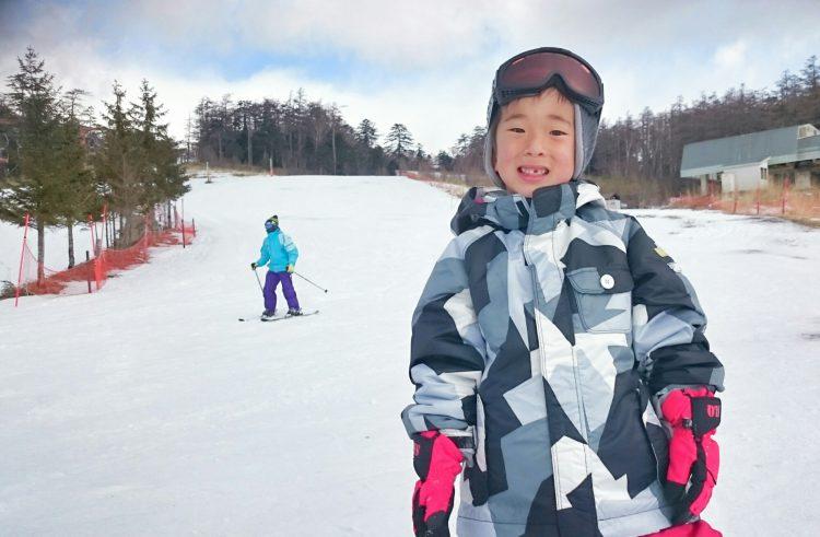 スキー場の初心者コース完走!